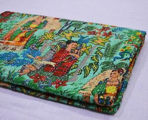 Twin Size New Indian Cotton Applique Kantha Quilt Throw Trendy Blanket Bedspread