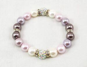 Exclusive 10mm Light Purple Pearl & White ab Shamballa Elastic Bracelet 18