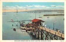 Rockland Maine Yacht Club Pier Harbor Scene Antique Postcard K36409
