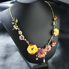 Collier Fin Chrysanthemum Email Jaune Rose Feuille Perle Libellule Abeille L7
