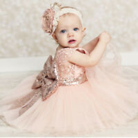 Kids Flower Girl Dress Party Gown Sequins Bow Tutu Wedding Lace Princess Dresses