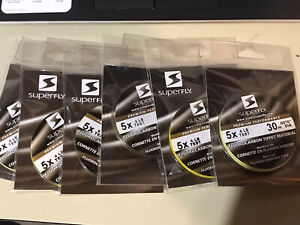 """Lot Of 6 New Superfly 5X 4 LB Test 30m .0070"""" DIA Fluorocarbon Tippet Material"""