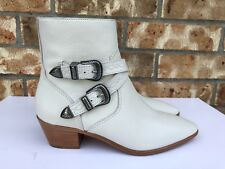 Women's Frye Ray Western Buckled Leather Ankle Boots White Size 6.5 3478028