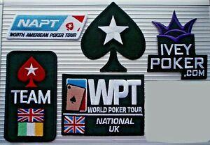 IRON ON POKER PATCH - NAPT, LARGE BLACK SPADE, TEAM UK/IRE, WPT UK, IVEY