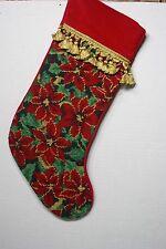 """Needlepoint Christmas Stocking Poinsettia Wool 21"""" Red Backing Gold Fringe"""