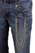 Men Silver Wallet Chains Metal Links KeyChain Jeans 2 Strands Skeleton Skulls