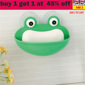 Frogs Shaped Soap Dish Holder Kitchen Bathroom with Suction Cups Soap Case li