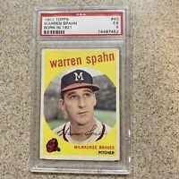 1959 Topps Warren Spahn Born in 1921 #40 PSA  5 EX BRAVES HOF