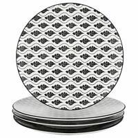 Vancasso Dinner Plates 4 Piece Gray Glazed Patterned Porcelain China Ceramic Set