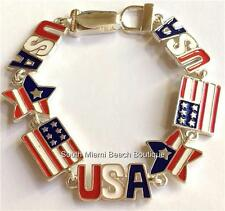 "New listing Silver American Flag Charm Bracelet Enamel Plated Patriotic July 4th 7.75"" Usa"