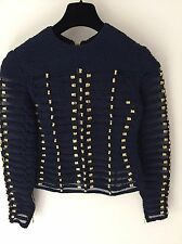 Balmain H&M Blue Gold Embroidered Braided Rope Top Shirt Blouse UK 8 38 XS