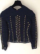 Balmain H&M Blue Gold Embroidered Braided Rope Top Shirt Blouse UK 8 EU 34 US 4
