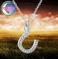 New Horseshoe Crystal Horse Urn Cremation Pendant Ash Holder Memorial Necklace
