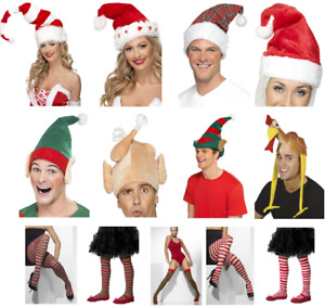 Adult Kids Christmas Elf Tights Hats Festive Fun Fancy Dress Costume Accessories