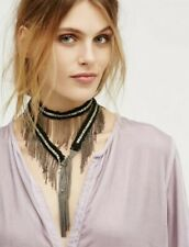 NEW Free People Metallic Chain Fringe Wrap Bolo Necklace