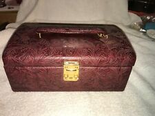 Vintage Dulwich Designs Red Leather Jewelry Box With Original Tag -Nice !!