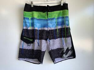 BILLABONG Platinum Stretch Blue,Black,Green Swim Surf Board Shorts Size 32 ~EUC