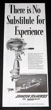 1944 OLD MAGAZINE PRINT AD, JOHNSON SEA-HORSE OUTBOARD ENGINES, NO SUBSTITUTE!