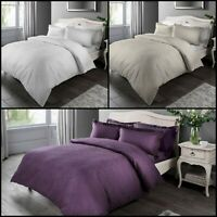 Luxury Damask Jacquard Duvet Quilt Cover Bedding Set & Pillowcases - All Sizes