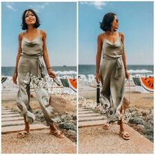 Zara Light Khaki Olive Flowing Satin Jumpsuit Size XS/S/M/L - UK 6/8/10/12 - NWT