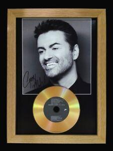 GEORGE MICHAEL - SIGNED PHOTO GOLD CD DISC - SOLID OAK FRAME!! MEMORABILIA