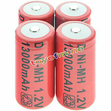 4x D size 1.2V 13000mAh Ni-MH Red Color Rechargeable Battery USA