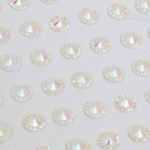CraftbuddyUS 108pcs Self Adhesive Pointed Resin Glitter Gems: White