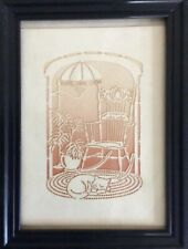 Cut Out Paper Silhouette cat sleeping Art Framed vintage