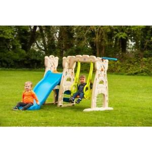 Swings & Slides Kids Safe Play Centre With Mini Hoop And Football Goal On Garden