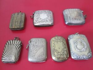 7 Antique    MATCH SAFES  - All HUNG ON WATCH CHAINS  - All Excell & Old Patina