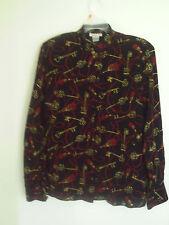 Talbots Woman's Black Key prints  Rayon Carier Casual Shirt Top Blouse Sz 8