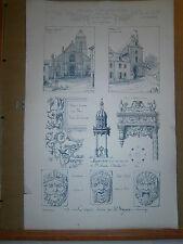 Gravure 19° croquis d'architecture grande taille Longjumeau Montargis Chateau