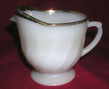 Old Vintage Fire King Oven Ware Creamer White Swirl Gold Trim Kitchen Tool Mcm