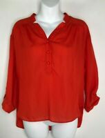 Milly of New York Red Hi Low 3/4 Sleeve Polyester Top Blouse Shirt Womens Sz 2