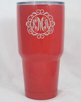 Red YETI Rambler 30 oz cup  engraved custom personalized powder coated free ship