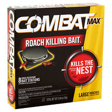 Combat MAX x8 LARGE ROACH KILLING BAIT STATION Kills The Nest CHILD RESISTANT