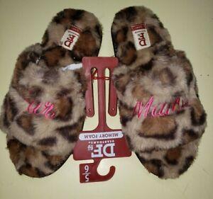 Dearfoams RARE FUR MAMA Leopard Spots Comfy Slippers Small 5-6 NWT