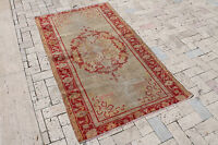 Turkish Rug 39''x68'' Vintage Muted Color Hand Knotted Oriental Rug 100x175cm