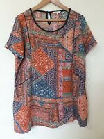 Fat Face Retro Floral Print Hippie Relaxed Fit Blouse Top  Size 16