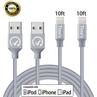 2 x 10Ft Lightning Cable Heavy Duty for iPhone 6 7 8 plus Charger Charging Cord