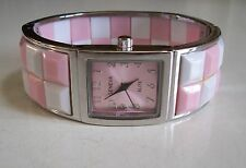 Silver finish with pink and white color fashion bangle cuff women's watch