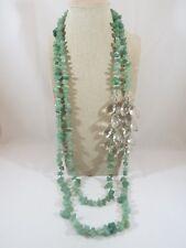 Ann Taylor Loft Green Aventurine & Chunky Acrylic Beaded Double Strand Necklace