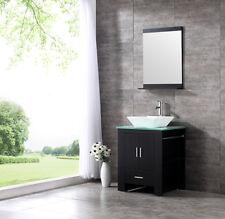 "24"" Bathroom Vanity Single Cabinet Plywood Ceramic Sink Faucet w/Mirror Top Set"