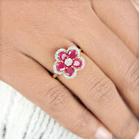 Ruby Gemstone FLORAL Ring Pave Diamond Solid 14k Yellow Gold Fine Women Jewelry