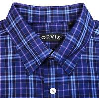 ORVIS NWOT Mens Button Down Shirt Size XL Long Sleeve Blue Purple Plaid Cotton