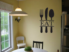 EAT UTENSILS SILVERWARE KITCHEN VINYL WALL DECAL LETTERING DINING ROOM BISTRO