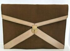 Vtg Gimbles Brown Canvas Locking Portable Portfolio File Folder Made In Italy