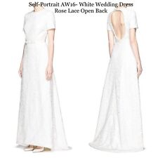 Self-Portrait Dress Wedding- Ball Gown White Pristine Rose Lace Open Back.