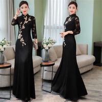 Black Embroidery 3//4 Sleeves A-Line Women/'s Slim Long Dress Cheongsam M-3XL