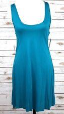 Raisins Cover Up Dress Sz L Blue Sleeveless Twist Open Back Stretch Rayon Knit